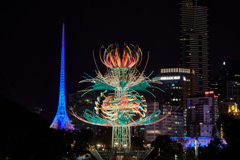 Spherophyte by Alex Sanson at White Night Melbourne 2017. Photo by
