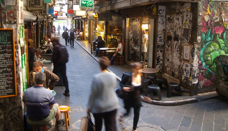 A Melbourne laneway. Photo courtesy Wikimedia/Rae Allen.