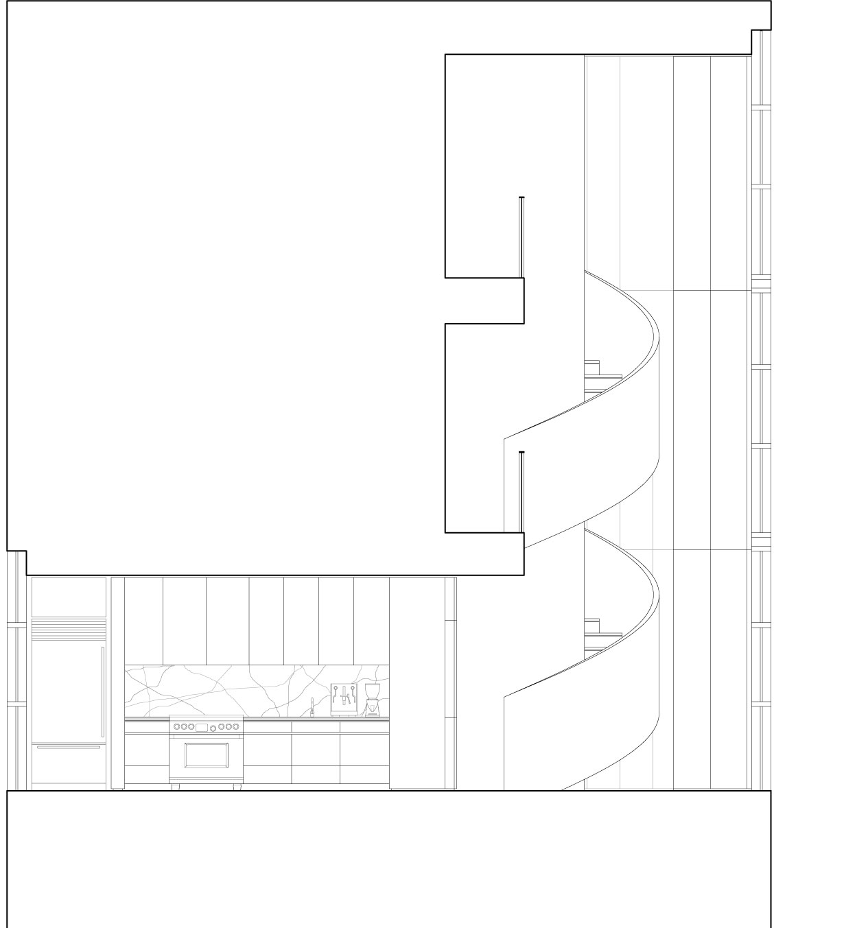 A section drawing shows the void space with corkscrew stair.