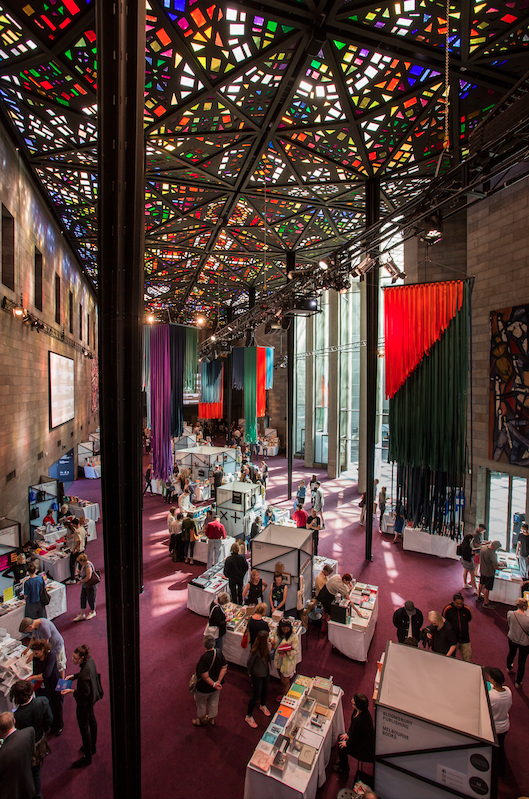 The Melbourne Art Book Fair 2017 in the Great Hall of the National Gallery of Victoria, which was part of Melbourne Design Week. Photo by Wayne Taylor.