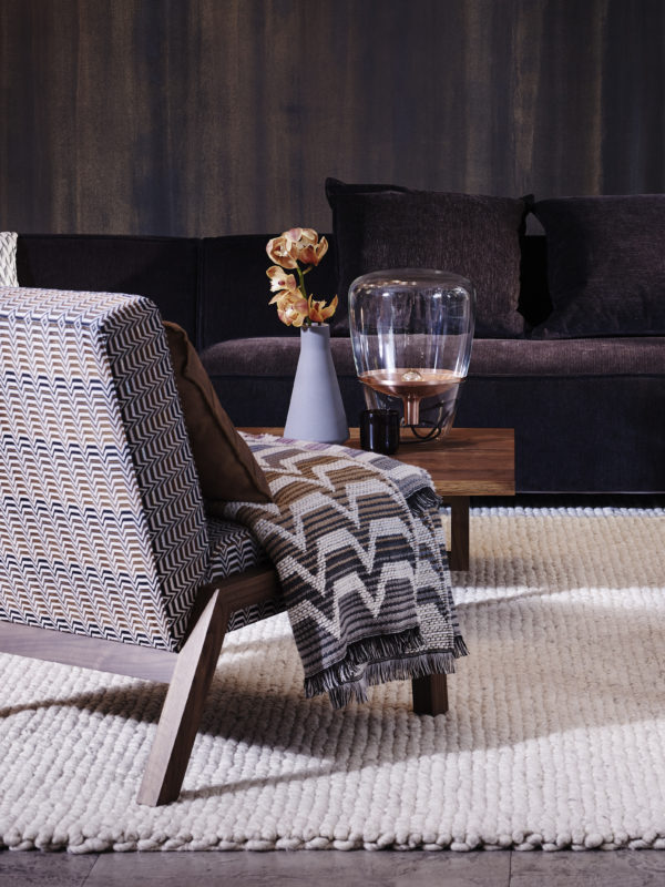 Spence & Lyda 'Lounge Chair #3'. Walnut frame upholstered in Missoni Home 'Santafe #174'. Missoin Home 'Socrate #100' wool throw.