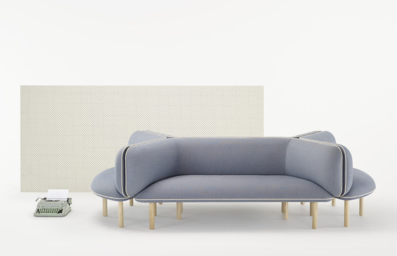 Tom Fereday Wes collection for Zenith: plywood frames, solid ash legs and Kvadrat Maharam Sunniva wool fabric.