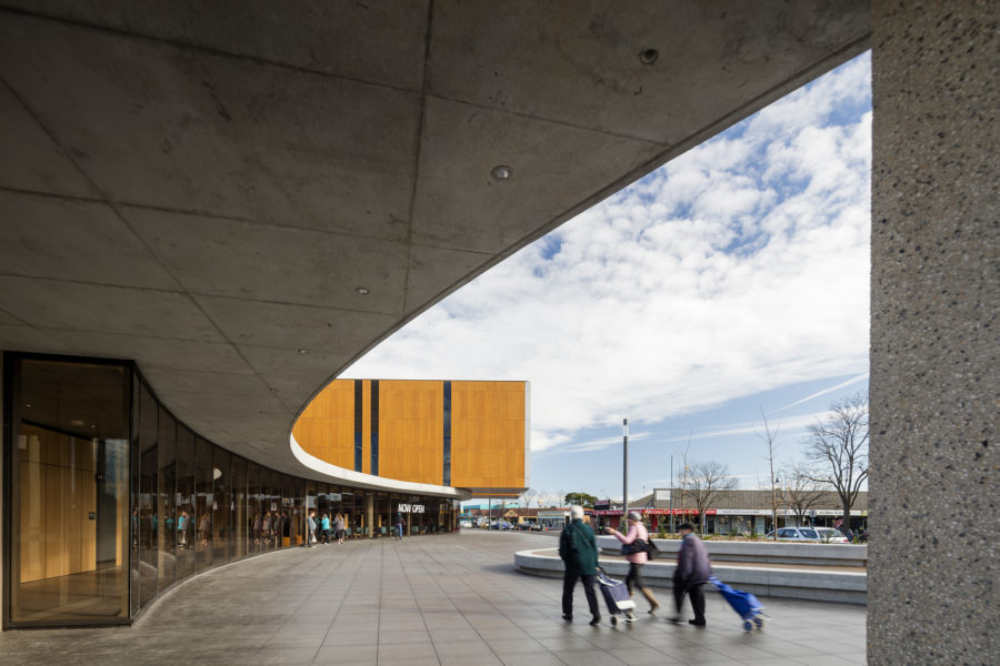 Frank Bartlett Library & Services Centre by FJMT is known at the 'community centre' in the town of Moe, Victoria. Photo by John Gollings.