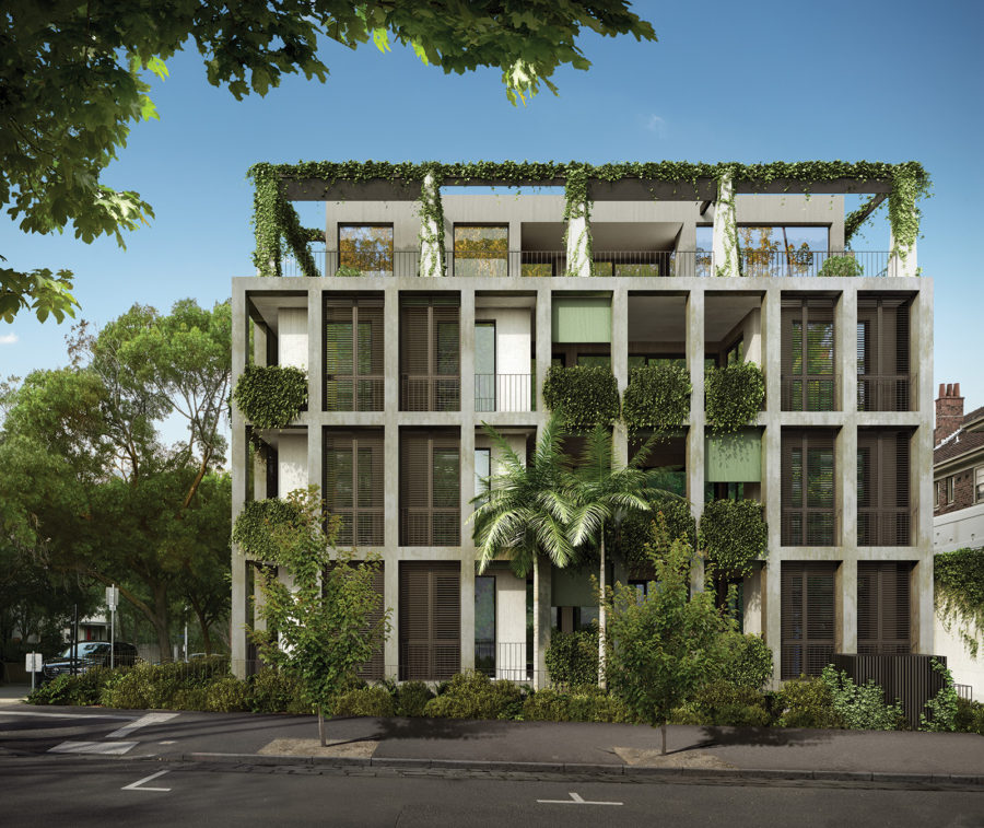 A render of the George & Powlett multi-res development going up in East Melbourne.