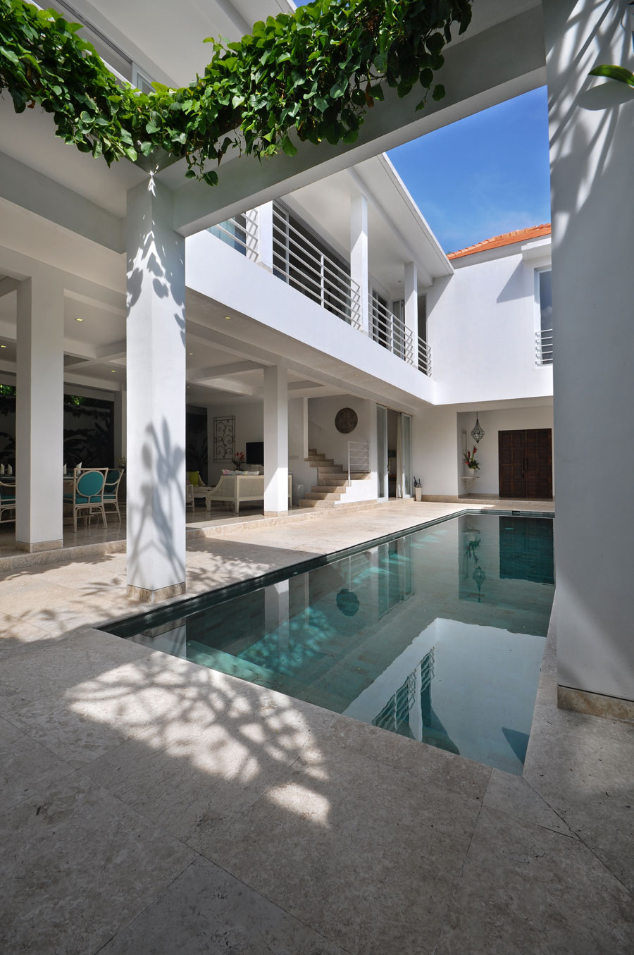 The pool creates a centrepiece in the space.