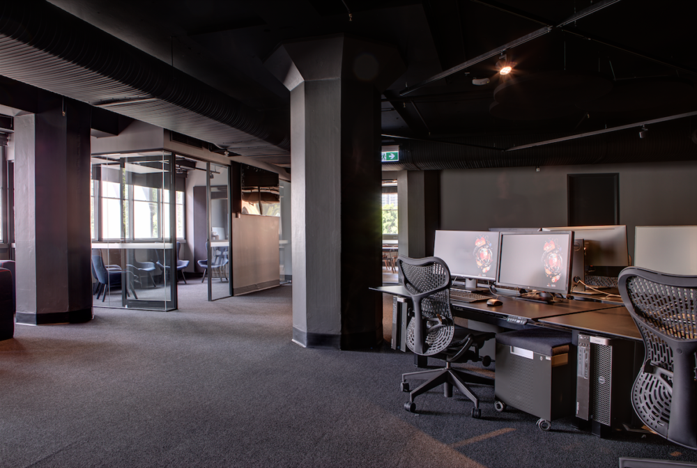 Workstations and meeting rooms in the Animal Logic Academy, Sydney. Photo by Brett Boardman.