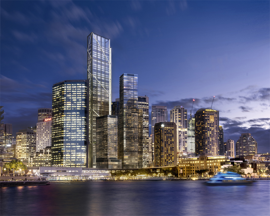 An artist impression of the proposed Foster + Partners tower in Circular Quay.
