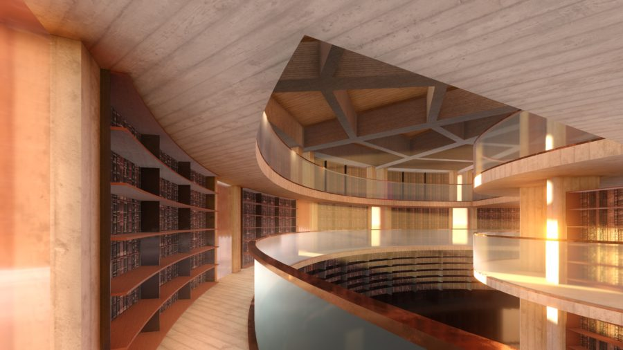 The new library will house Walsh's extensive collection or rare books and manuscripts.