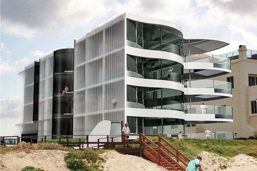 Four-off units now selling for $6 million each along the beachfront near Surfers Paradise, designed by Shiro Architects. Its balconies are shaped like a mermaid's fins, with a mirrored ceiling to reflect the water of the outdoor spa bath on each floor. Render courtesy the architect.