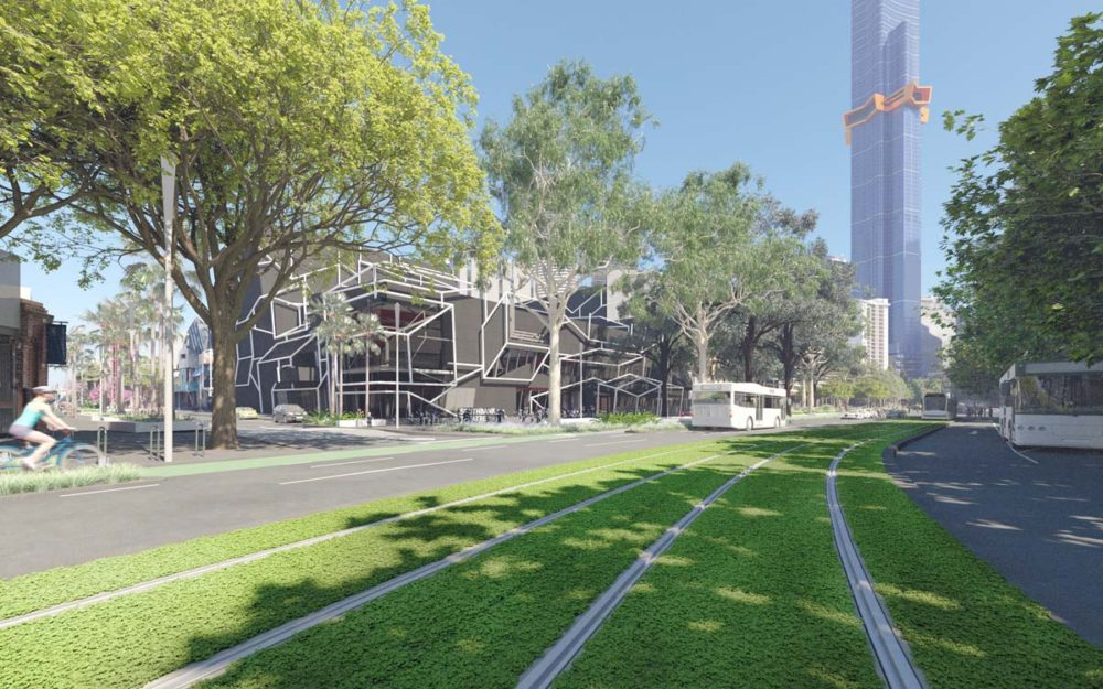 Southbank Boulevard looking west from St Kilda Road with proposed green tramway.