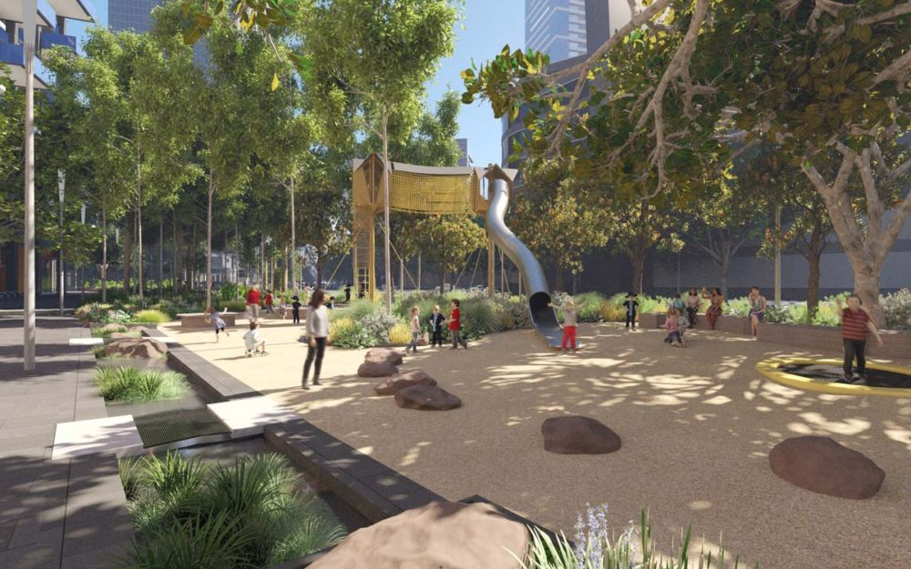 Kavanagh Street to Fawkner Park with new trees and play space.
