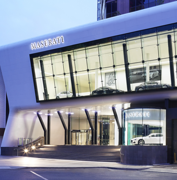 Maserati showroom designed by Elenberg Fraser. Photo courtesy dormakaba.