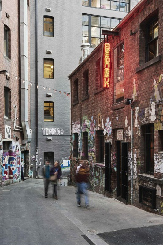Lee Ho Fook on Duckboard Place, off Flinders Lane, by Technē. Photo by Brooke Holm.