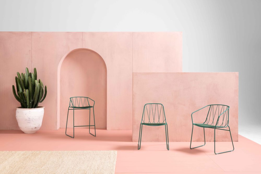 SP01's outdoor range includes chairs and stools that can be configured with different heights or arms.