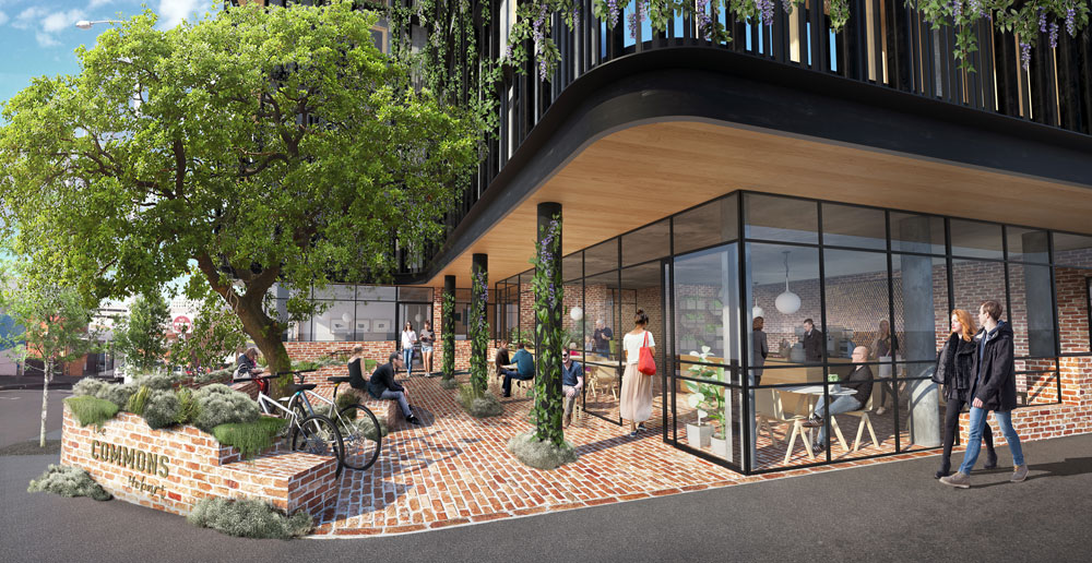 The Commons Hobart integrates with the street, a tactic to engage with the community.