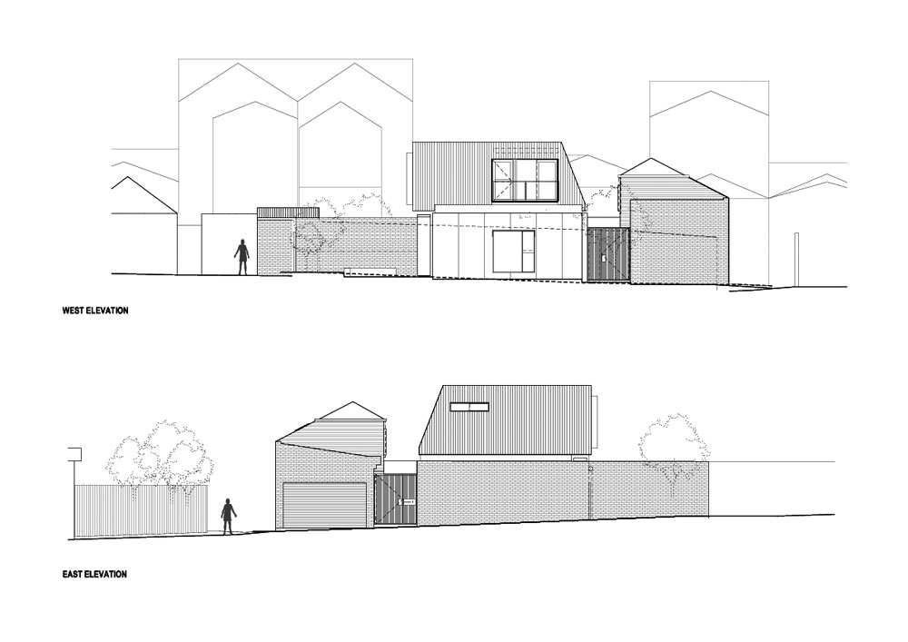 The elevations highlight the surrounding structures – existing terrace house, garage and studio.