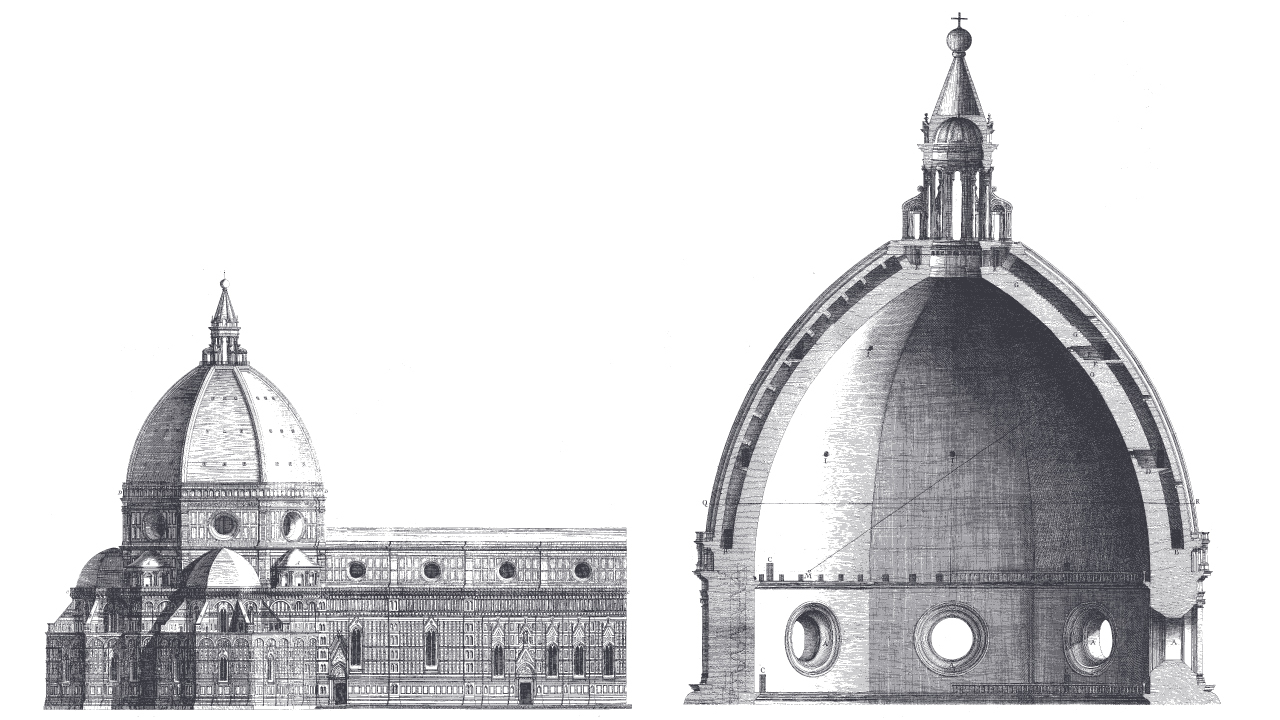 Drawing of The Dome of Florence by Filippo Brunelleschi, via Metalocus.es.