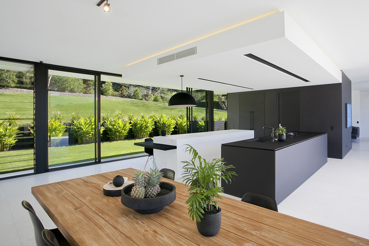 Interior shot of the kitchen at Noosa Glasshouse