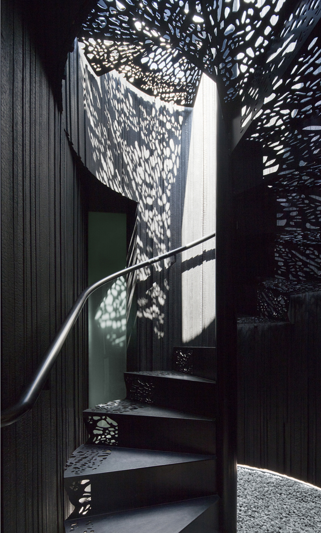 Staircase with dappled light