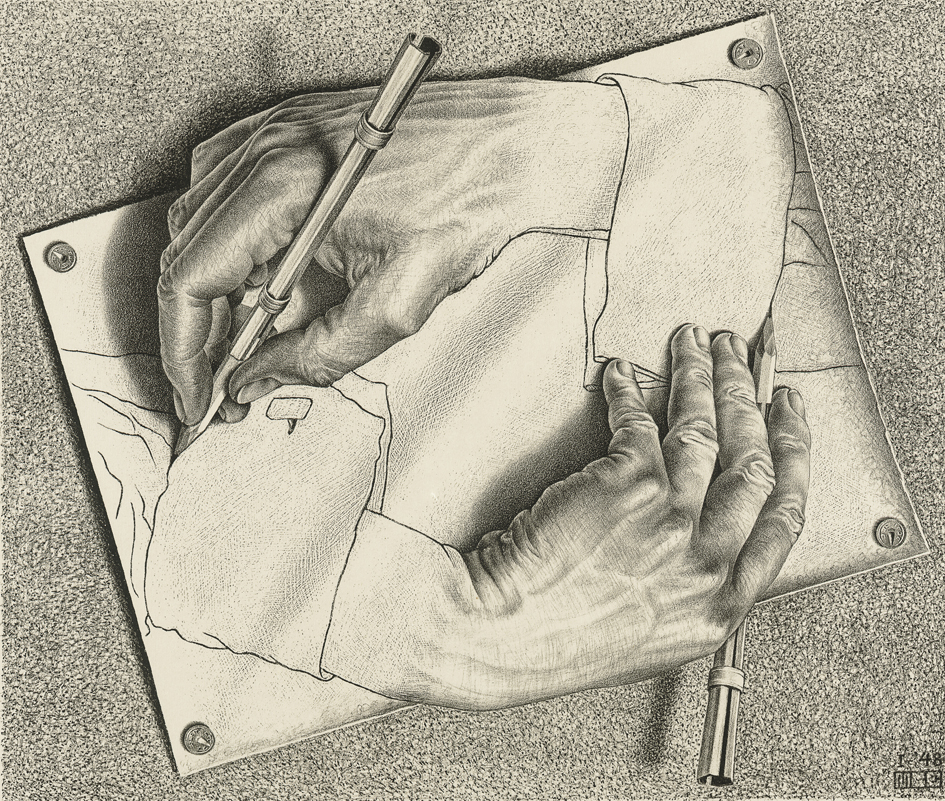 M.C. Escher's Drawing Hands artwork