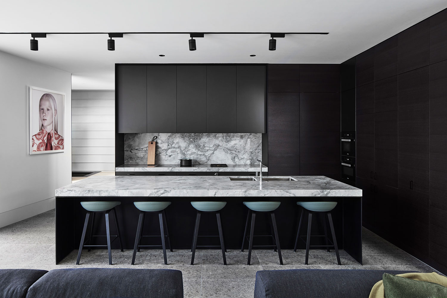 New open plan kitchen with black steel detailing
