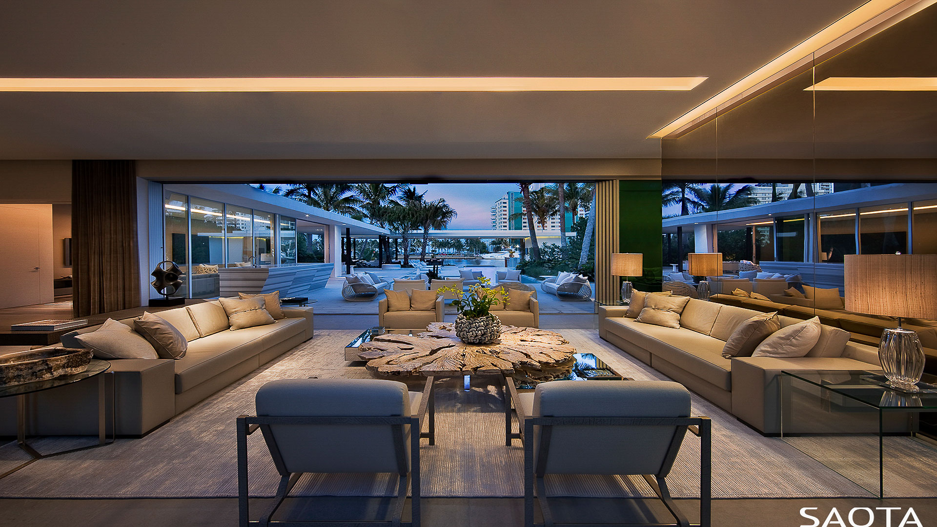 The Miami house at night