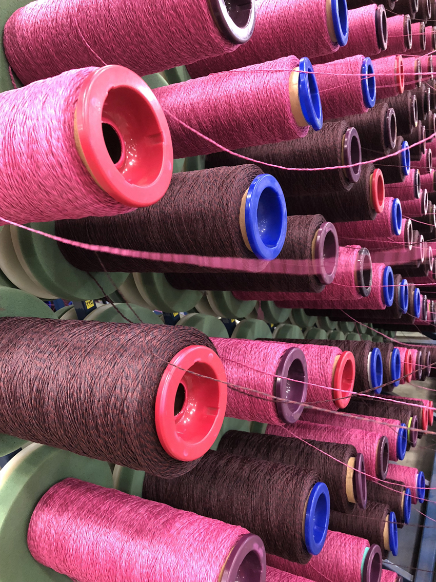 Rolls of thread at the Shaw Contract Mill in China