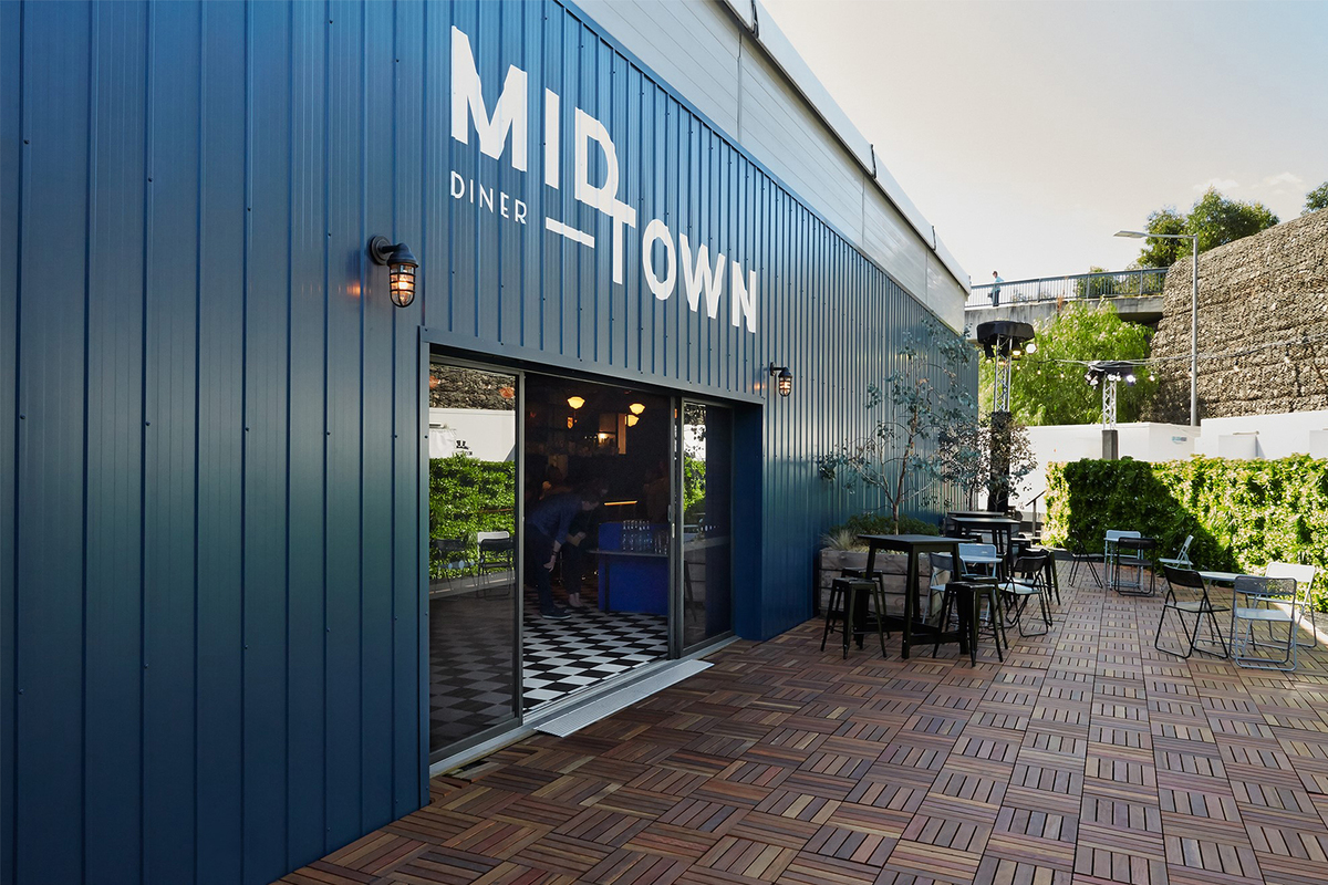 Exterior of the Mid Town pop-up bar