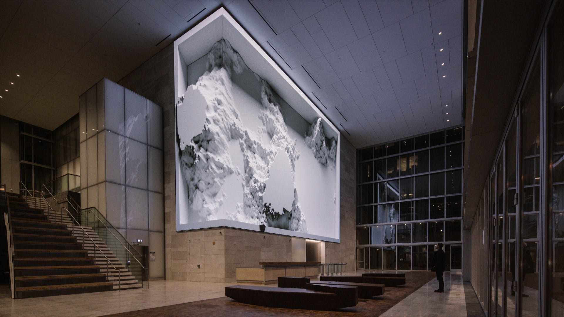Refik Anadol digital art installations for the Salesforce building in San Francisco