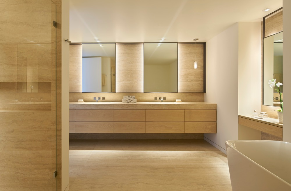 The master bathroom in the Studio VARA designed apartment