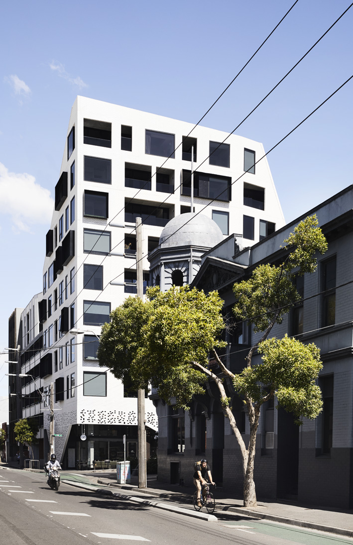 The Peel apartments featuring a sloping roof