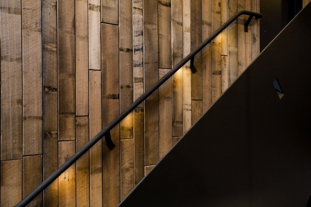 Wooden staircase at Pumphouse hotel