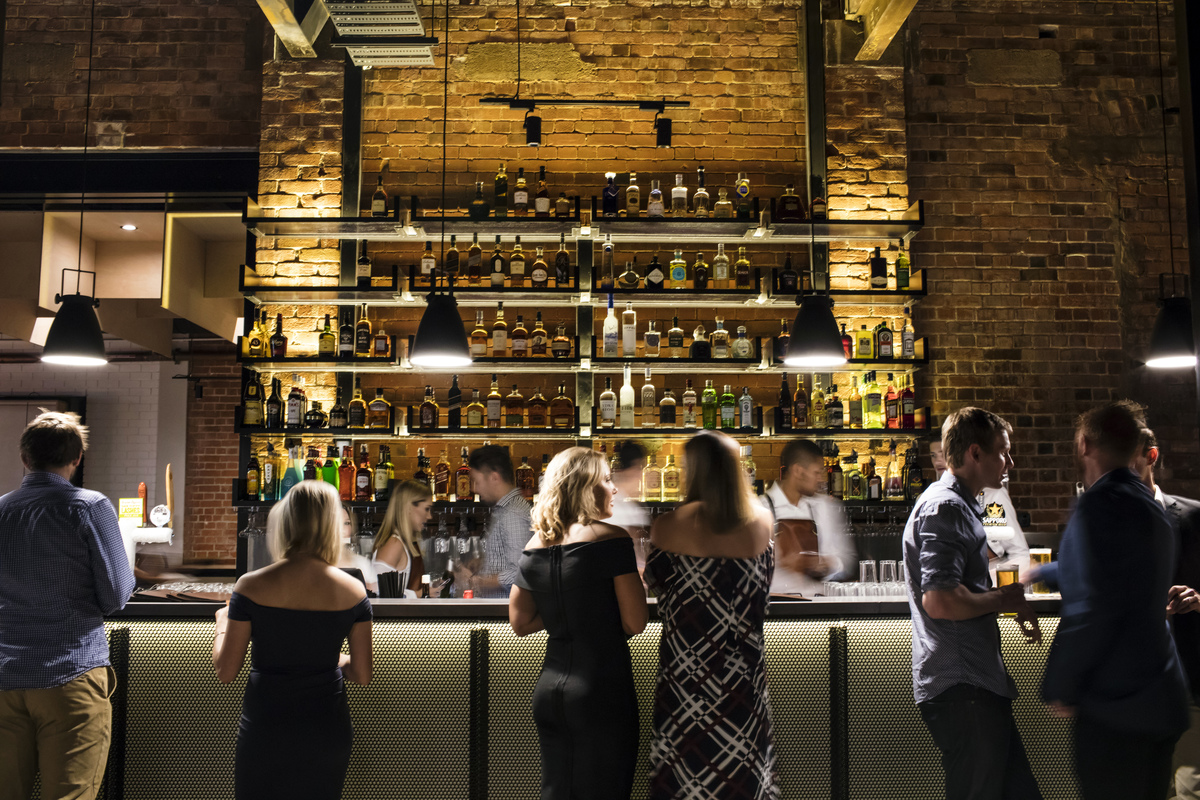 The bar area in Headricks