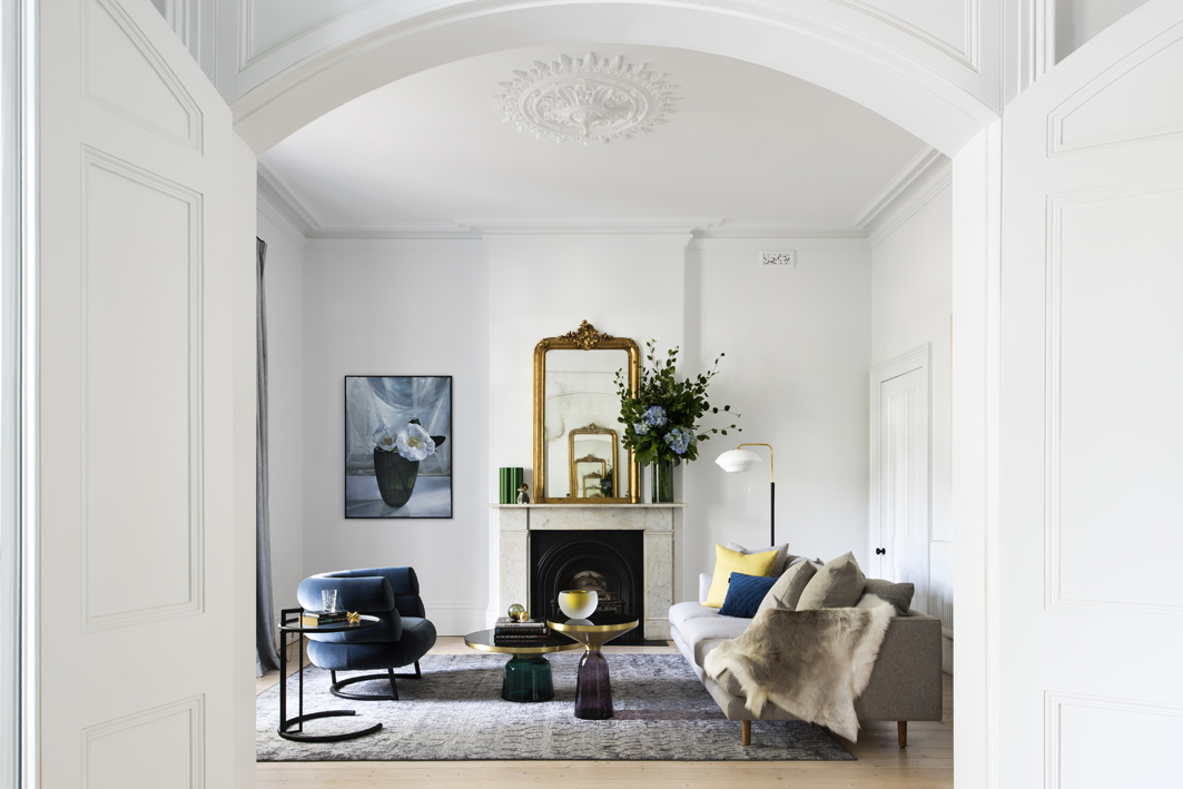 The living room of the heritage house in Melbourne
