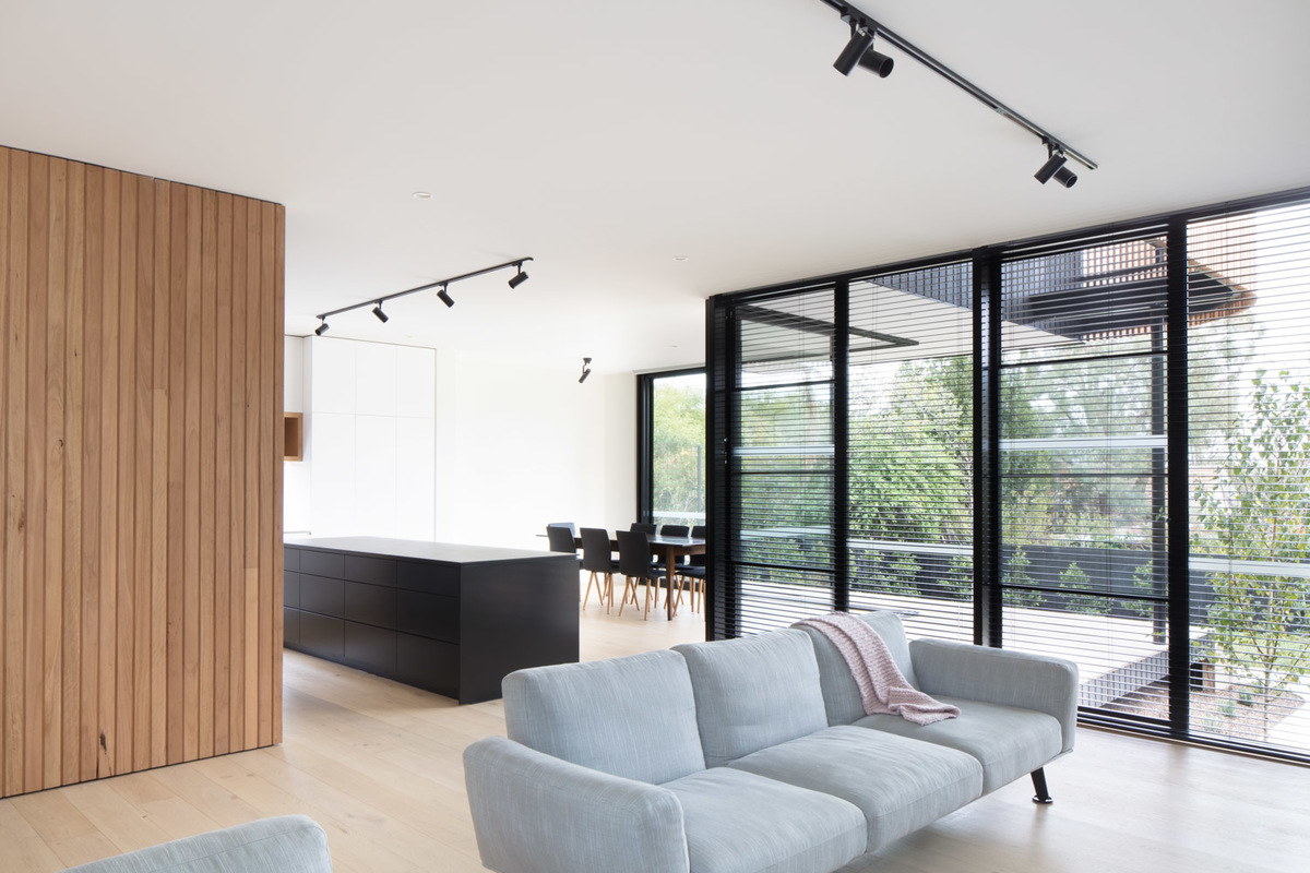 The open plan living and kitchen space