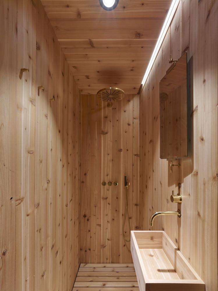 The wooden bathroom
