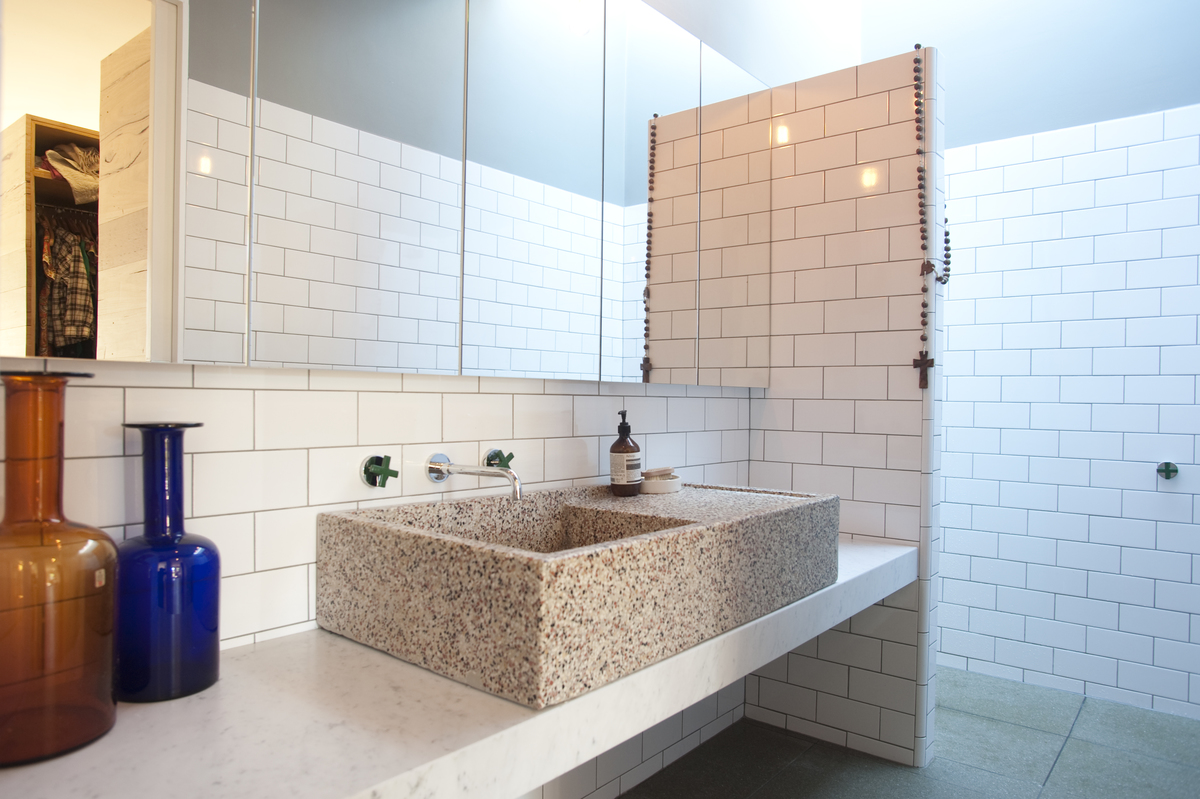 The bathroom with sustainable materials