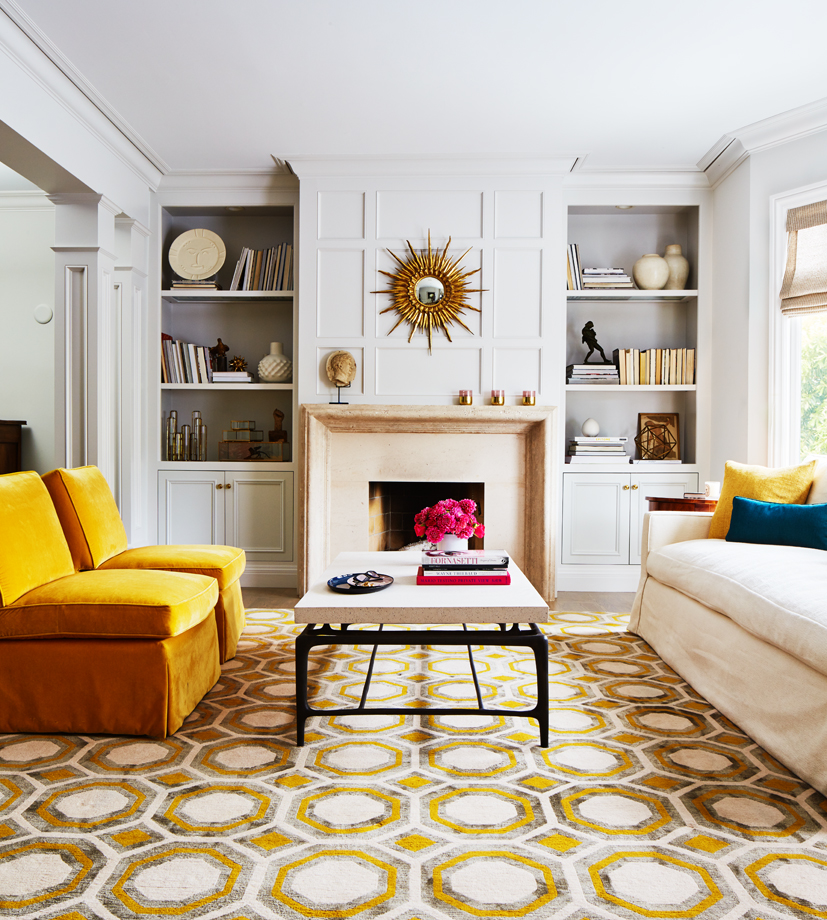 pops of colour in the informal sitting room