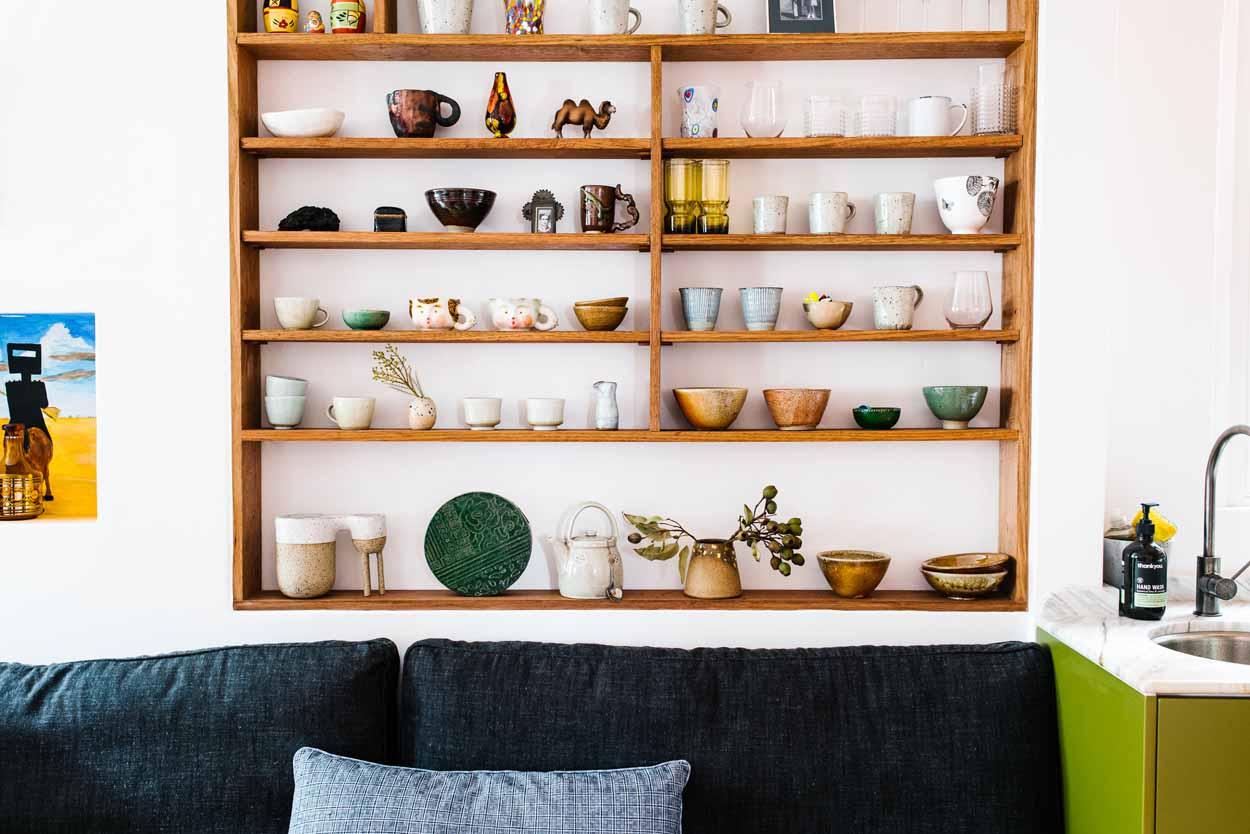 Art on the kitchen shelves