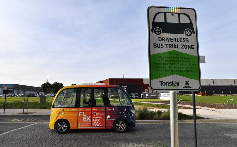 Adelaide's driverless electric shuttle for the Tonsley Innovation District is part of a five-year trial of autonomous vehicle tech. David Mariuz/AAP