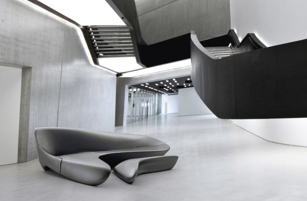 Moon sofa and ottoman by Zaha Hadid design