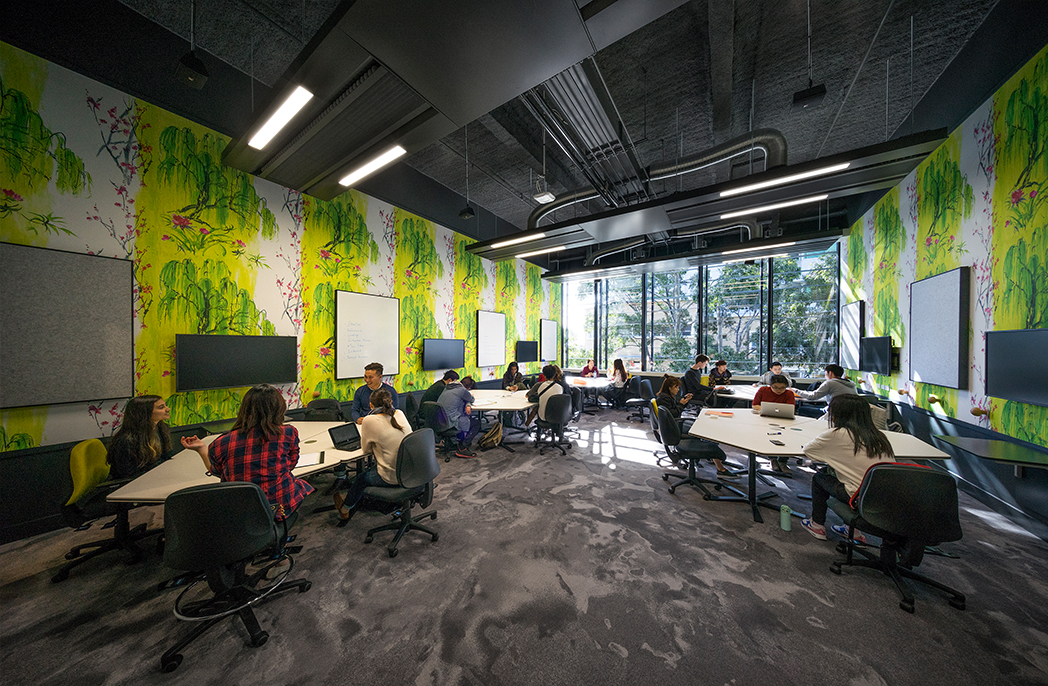 Learning spaces at the University of Melbourne Arts West redevelopment support a 'flipped' course delivery, where class time is focussed on group collaboration, information sharing and problem solving