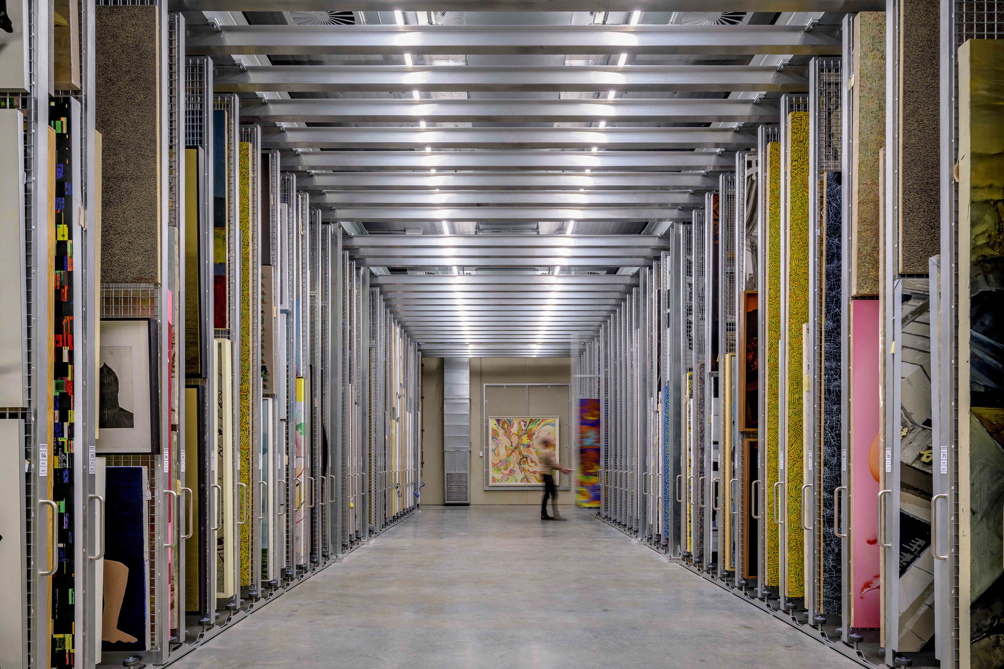 Dangrove Art Storage Facility Interior, Alexandria NSW Australia, designed by Tzannes, built by Infinity Constructions. Photography by The Guthrie Project.