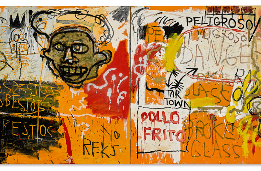 Jean-Michel Basquiat American 1960−88 Untitled (Pollo Frito) 1982 synthetic polymer paint, oilstick and enamel on canvas 152.4 x 306.1 cm Private European collection, courtesy of John Sayegh-Belchatowski © Estate of Jean-Michel Basquiat. Licensed by Artestar, New York